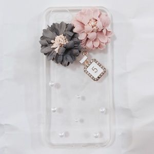 iPhone 7 Luxury Pink Gray Floral Pearls Clear Case